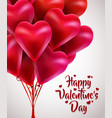 flying bunch of red balloon hearts happy vector image vector image