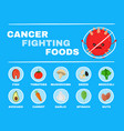 food fighting cancer infographic vector image