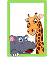 Giraffe And Hippo Cartoon On Frame vector image vector image