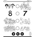 greater less or equal game coloring page vector image vector image