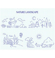 hand drawn nature landscape line set vector image vector image