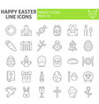 happy easter thin line icon set holiday symbols vector image vector image