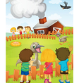 Kids at the farm vector | Price: 1 Credit (USD $1)