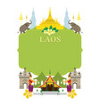 laos landmarks traditional dance frame vector image vector image