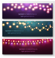 light garland banners glowing light bulbs on vector image vector image