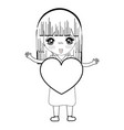 line pretty girl with heart in the hand and dress vector image vector image