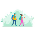 man and woman with backpacks walking green leaves vector image vector image
