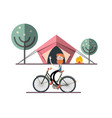 man on bicycle with tent fire and trees on vector image vector image