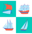 marine collection of sailing ship icons in flat vector image