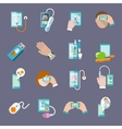 Mobile health icons set flat vector image vector image