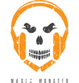 negative space grunge concept with skull monster vector image