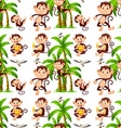 Seamless monkeys and coconut trees vector image vector image