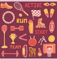 set of sports line art vector image