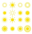 set of sun icons isolated on white background vector image