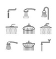 shower head type icons set outline style vector image