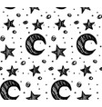 star night seamless pattern black white vector image vector image