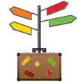 Street sign and travel suitcase Tourism concept vector image vector image