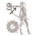 stylized zodiac sign sagittarius vector image vector image