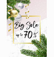 the christmas sale banner marble balls and pink vector image vector image