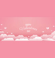 valentines day with pink hearts vector image