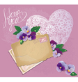 Vintage postcards beautiful pansy flowers vector image vector image