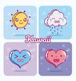 weather and hearts kawaii cartoons vector image