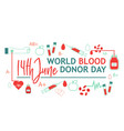 world blood donor day banner with giving blood vector image vector image