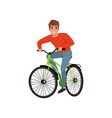 young man riding bicycle active lifestyle concept vector image vector image