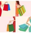 Shopping girl hand bag vector image