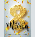 8 march gold glitter for women day greeting card vector image vector image