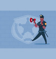 african american policeman hold megaphone wearing vector image vector image