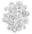 Black and white monsters in the style of a doodle vector image