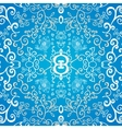 Blue symmetric floral ornament background vector image vector image