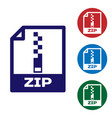 blue zip file document icon download zip button vector image vector image