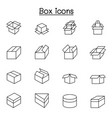 box icons set in thin line style vector image