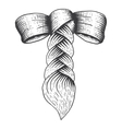 braid with a bow in engraving style vector image vector image