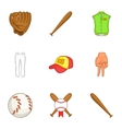 Championship with bat icons set cartoon style vector image vector image