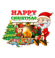 christmas card design with santa fireplace vector image