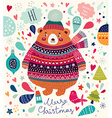 Christmas cute Bear vector image vector image
