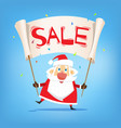 christmas sale santa claus with placard sale vector image