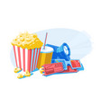 composition with popcorn 3d glasses and tickets vector image vector image