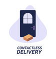 contactless delivery left at door during the vector image