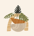 contemporary aesthetic composition with monstera vector image