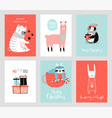 cute christmas cards with animals celebrating vector image