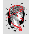 david sculpture crazy style with hat on and vector image