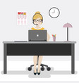 female office worker with laptop and headphones vector image vector image