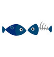 fish and fishbone on white background vector image