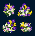 flower bouquet icon of floral greeting card design vector image vector image