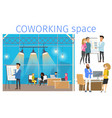 freelancer in coworking business space banner vector image vector image