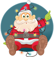 Funny Santa Tangled in Christmas Lights vector image vector image